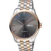 MIDO美度 Belluna Gent 經典日期機械錶-灰x玫塊金框/42mm M0246302206100