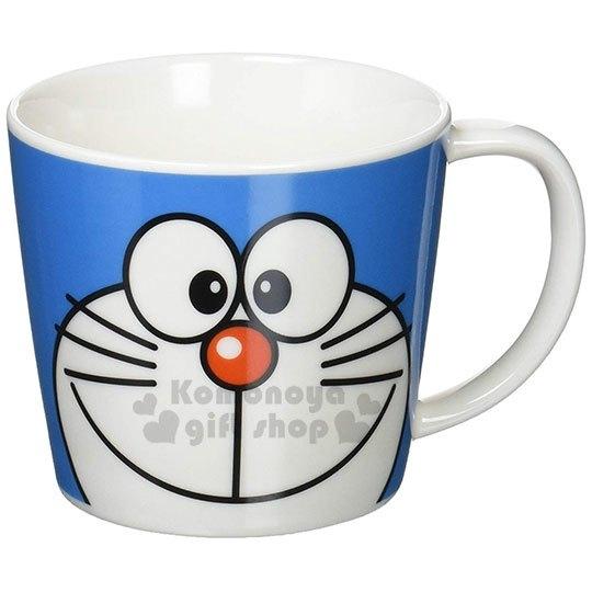 〔小禮堂〕哆啦A夢 日製陶瓷寬口馬克杯《藍.大臉》茶杯.咖啡杯.金正陶器 4964412-00922