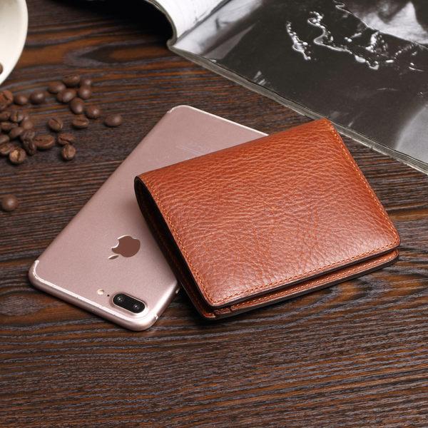 沃洛色嫫手工皮革三色短夾 皮夾 錢包 橘 可可 咖啡