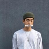 毛線帽男潮針織帽秋冬黑色瓜皮帽韓版保暖軍綠色冷帽女短款雅痞帽 韓國時尚週
