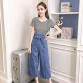 夏新款韓版時尚闊腿褲套裝女高腰牛仔褲背帶褲寬鬆九分褲子 GB5275『M&G大尺碼』