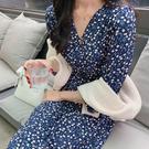 Qmigirl 韓版少女藍色碎花長袖連衣裙【T2257】