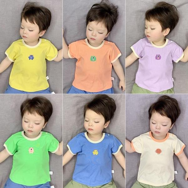 短袖T恤夏薄款可愛拼色半袖上衣男女兒童印花韓版嬰兒夏裝 茱莉亞