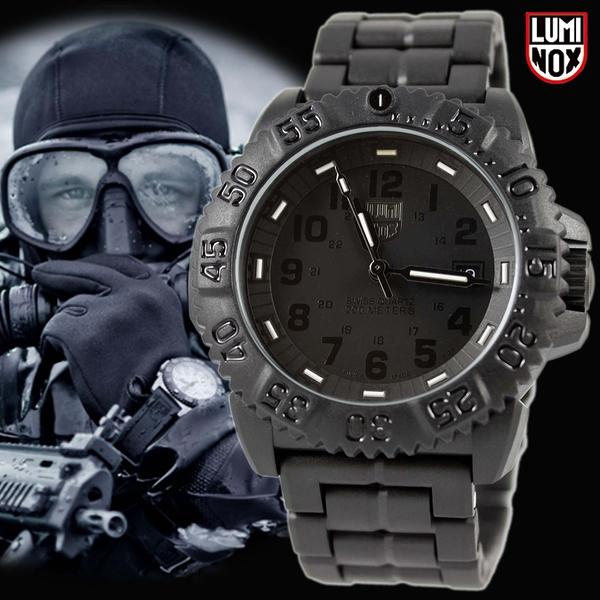 【萬年鐘錶】LUMINOX 雷明時 海豹部隊指標系列經典腕錶 碳纖維輕量鍊帶  黑色 44mm LM-A3052.BO