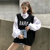 大學T 早秋上衣慵懶長袖白色襯衫女2018新款韓范寬鬆馬甲襯衣兩件套