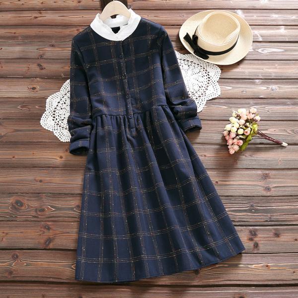 *ORead*加絨加厚花邊立領格子連身裙(藍色M~2XL)