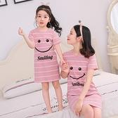 兒童睡裙短袖夏季女童裝純棉親子寶寶薄款公主裙小女孩睡衣家居服