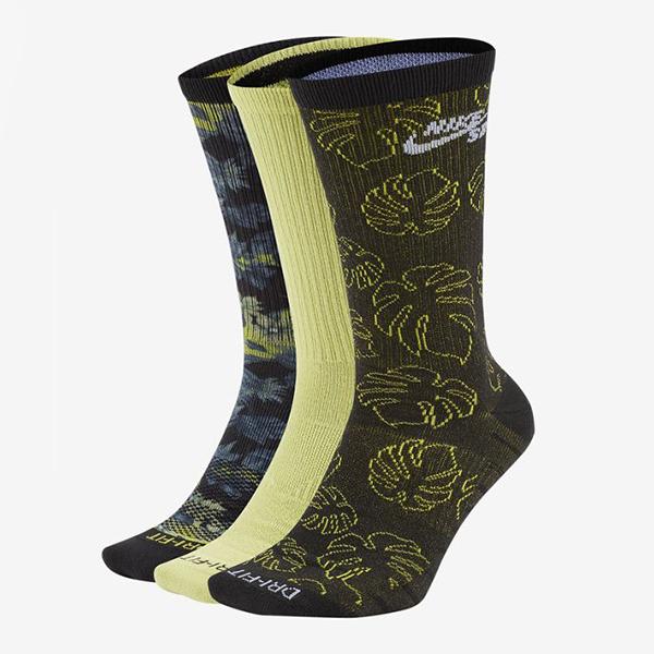R-NIKE SB Everyday Max Lightweight 中筒襪 花卉 滿版 淺綠 軍綠 藍 三雙一組 透氣 舒適 SK0041-902