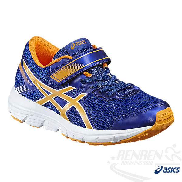 ASICS亞瑟士 兒童慢跑鞋 GEL-ZARACA 5 GS  (藍*橘) 兼具舒適性 魔鬼氈