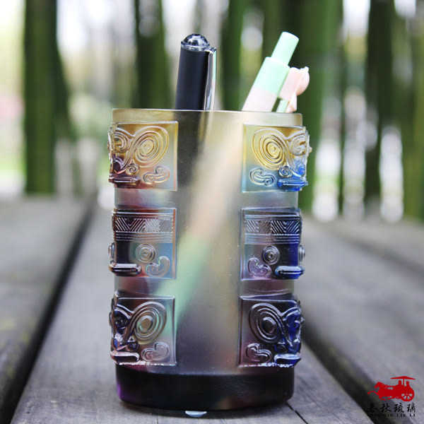 思美 中式風格雕刻創意琉璃筆筒