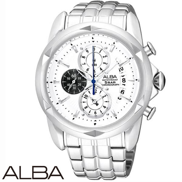 ALBA 龐克切割錶殼三眼碼表鋼帶男錶 42mm白 YM92-X189S   名人鐘錶高雄門市