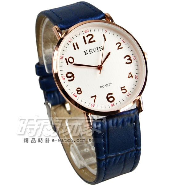 KEVIN 數字時刻簡約時尚腕錶 防水手錶 皮革錶帶 男錶/中性錶/女錶/都適合 藍色x玫瑰金 KV3068藍大
