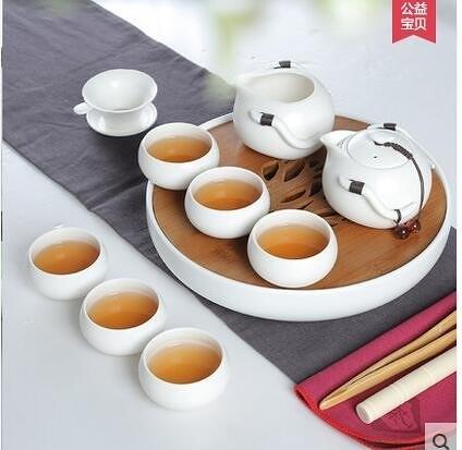 臻藏 茶具套裝整套特價陶瓷功夫茶具竹製陶瓷茶盤 定窯冰裂套裝(B1清韻茶盤配定窯白色茶具)