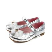 小女生鞋 娃娃鞋 蝴蝶結 銀色 童鞋 807 no202