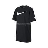 Nike 洋裝 NSW Swoosh Dress 黑 白 女款 長版 短T 運動休閒 【ACS】 CJ3830-010