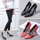韓版百搭時尚款尖頭淺口單鞋性感貓跟鞋子高跟鞋潮