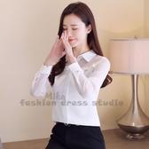 依Baby 秋裝新款長袖雪紡襯衫大碼寬鬆職業襯衣韓版士設計感上衣