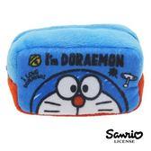 【日本進口正版】哆啦a夢 DORAEMON 大臉款 棉質 長型 收納包 零錢包 小叮噹 三麗鷗 - 430146
