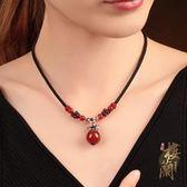 古風925純銀吊墜項鍊簡約民族風復古鎖骨鍊石榴石瑪瑙配飾品女