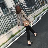 2018春裝新款韓版高腰休閒小腳西褲女修身顯瘦九分褲   初見居家