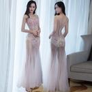 透視禮服 洋裝 透視裝長裙網紗透明晚禮服性感長款連身裙