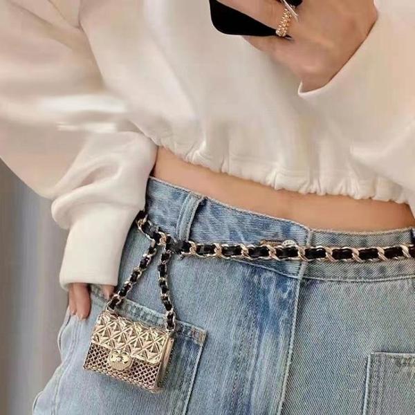 小紅書網紅同款金屬mini小包腰鍊菱格鍊條腰帶珍珠腰包耳機包配飾 嬡孕哺