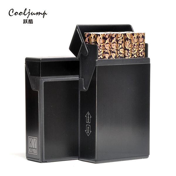 煙盒20支裝便攜自動彈煙創意超薄個性鋁合金屬高檔男士煙盒igo 青木鋪子
