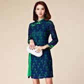 中大尺碼~改良旗袍蕾絲復古長袖連衣裙(M~3XL)
