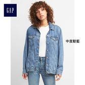 Gap女裝 大廓形標志款天絲長袖牛仔夾克 226013-中度靛藍
