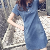 SISI【D9026】現貨經典丹寧氣質圓領中長款修身顯瘦短袖單寧牛仔連身短裙洋裝