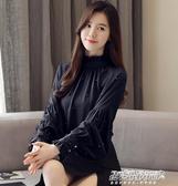 雪紡上衣新款韓版燈籠袖雪紡衫上衣時尚打底衫洋氣小衫女長袖 【雙11特惠】
