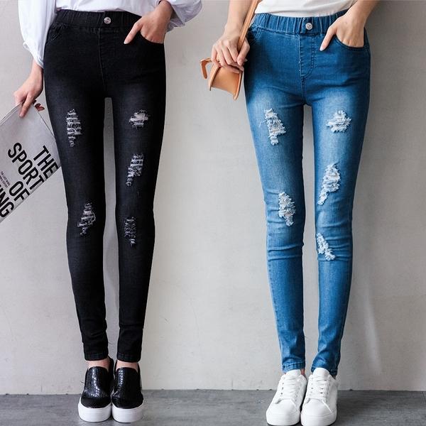 MIUSTAR 個性刷破假釦彈力牛仔緊身褲(共2色,S-XL)【NJ0645EW】預購