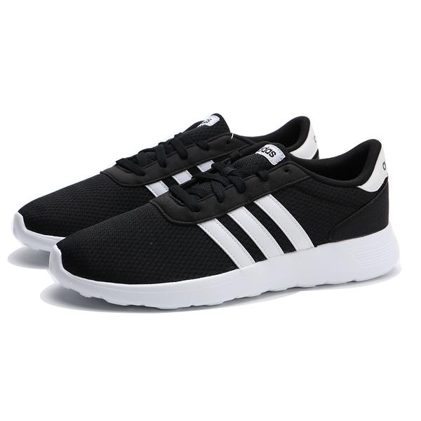 ADIDAS 慢跑鞋 LITE RACER 黑白 網布 輕量 透氣 休閒 男 (布魯克林) BB9774