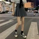 短裙裙子學院風高腰顯瘦黑色百褶裙女A字短裙灰色半身裙