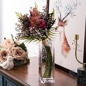錘紋方口花瓶透明描金玻璃花瓶客廳創意歐式【極簡生活】
