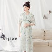 愛戀小媽咪 孕婦裝 優雅玫瑰花排釦寬版縮腰雪紡洋裝