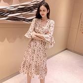 碎花裙 2020新款早秋裙子仙女超仙森系V領高腰碎花中長款洋裝女雪紡裙