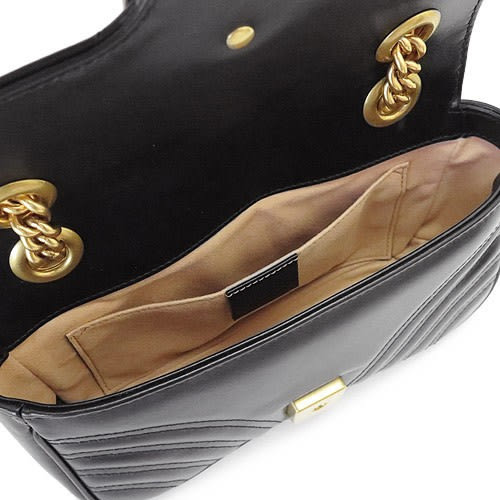 【雪曼國際精品】GUCCI GG Marmont matelasse V型絎縫皮革鍊帶包 446744 DTDIT 1000 (黑色)─新品現貨