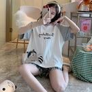 純棉小浣熊印花家居服套裝(上衣+短褲) 獨具衣格 J3697