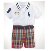 Polo Ralph Lauren polo杉上衣+短褲+皮帶 三件式短袖套裝 白大馬 | 男寶寶【RA56864696】