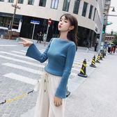 2018秋季女學生裝新款簡約時尚百搭喇叭袖修身圓領黃色藍色針織衫