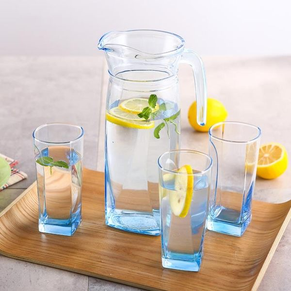 冷水壺冰藍棱鏡壺1.3L水具套裝玻璃涼水壺耐熱大容量家用 迎中秋全館85折