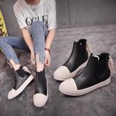 佐斯路秋新款防滑厚底個性時尚潮鞋一腳蹬女鞋后系帶休閒鞋短靴