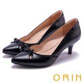 ORIN 典雅時尚女人 側V開口羊皮尖頭中跟鞋-黑色