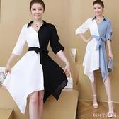 大尺碼洋裝 短袖修身連身裙夏季2019新款胖MM女裝拼色系帶中長款不規則裙 DR25222【Rose中大尺碼】