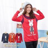 質感假兩件--可愛童趣點點兔子假兩件設計長袖上衣(橘.紅.藍L-3L)-X152眼圈熊中大尺碼