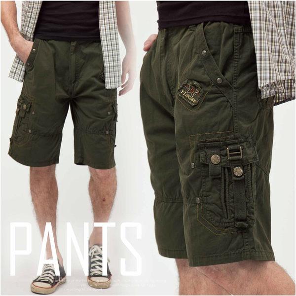 【大盤大】(A325) 男 多口袋 工作褲 五分褲 休閒短褲 夏 草綠 素色 純棉 素面短褲 寬鬆【僅剩XL號】