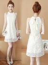掛脖洋裝 2021年新款夏季天白色a字小個子無袖蕾絲吊帶掛脖連身裙仙女氣質 韓國時尚 618