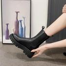 短靴女2020年新款煙管春秋厚底煙筒中筒2021網紅瘦瘦馬丁靴一米陽光