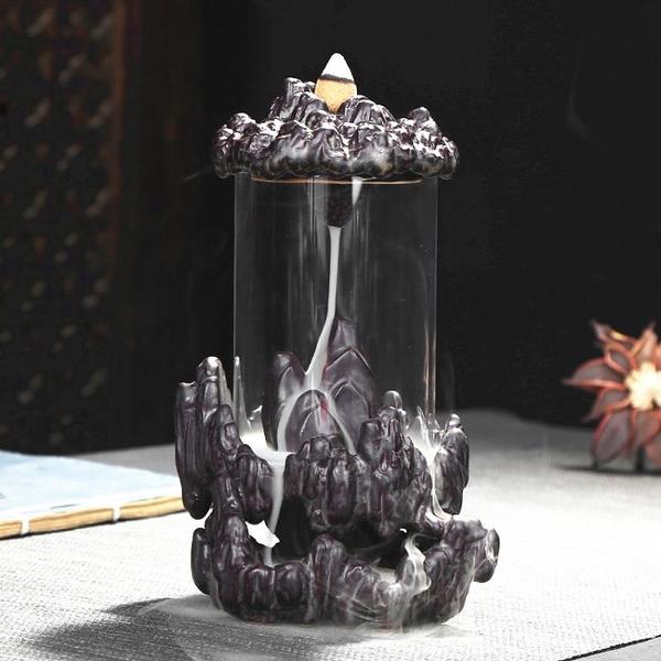 倒流香爐 時來運轉高山流水玻璃防風創意家用陶瓷擺件禪意檀香薰爐【快速出貨八折鉅惠】